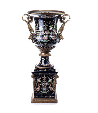 Decotrends  Porselein  bronzen vaas op voetstuk   Versaille