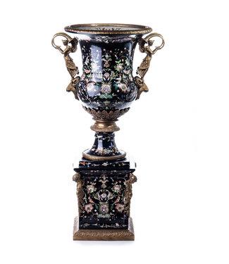 Porselein  bronzen vaas op voetstuk   Versaille