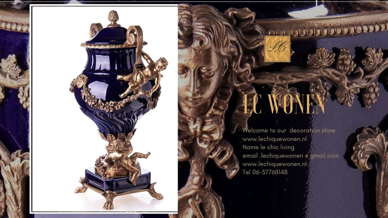 Decotrends  Baroque Porcelain bronze vase with lids with angels