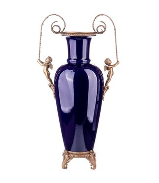 Porcelaine avec vase en bronze anges