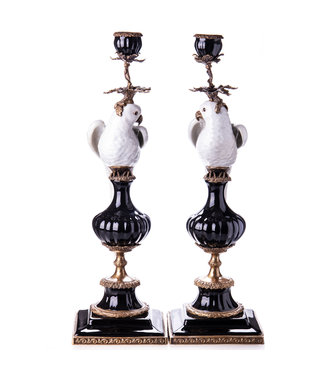 Porcelain with bronze candlestick parrots set / 2