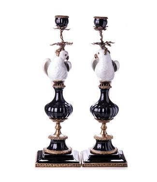 Porselein met bronzen kandelaar papegaaien set / 2