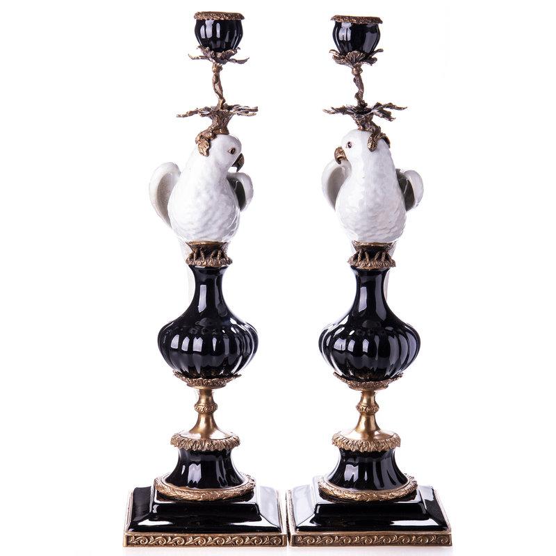 Decotrends  Porselein met bronzen kandelaar papegaaien set / 2