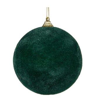 Good Will  Christmas bauble velvet flock dark green