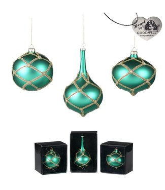 Good Will  Set glas parel  hang ornamenten green jade