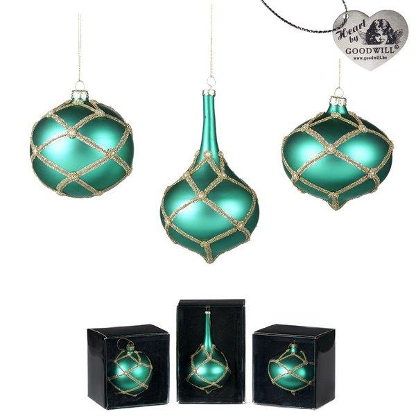 Good Will  Set glas parel  hang ornamenten green jade