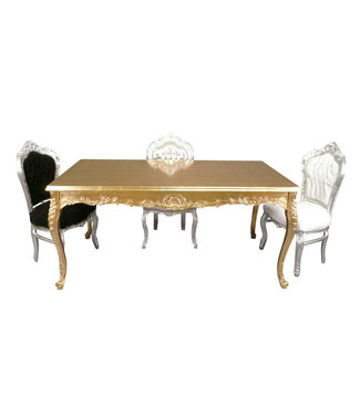 LC Gouden  barok tafel  Lengte : 180 cm