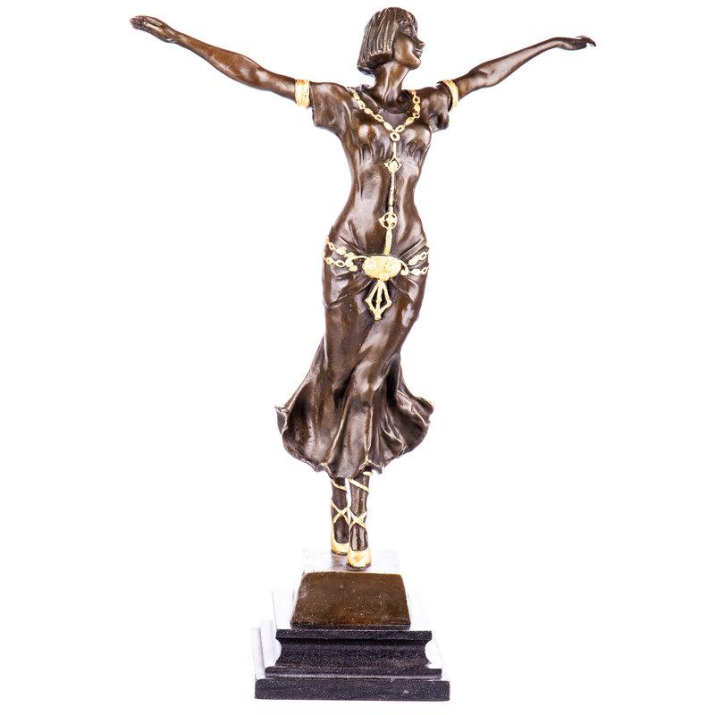 Art Deco bronze figure dancer with gold painting