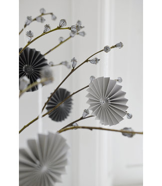 DELIGHT DEPARTMENT 10 GRAY PAPER ORNAMENTS