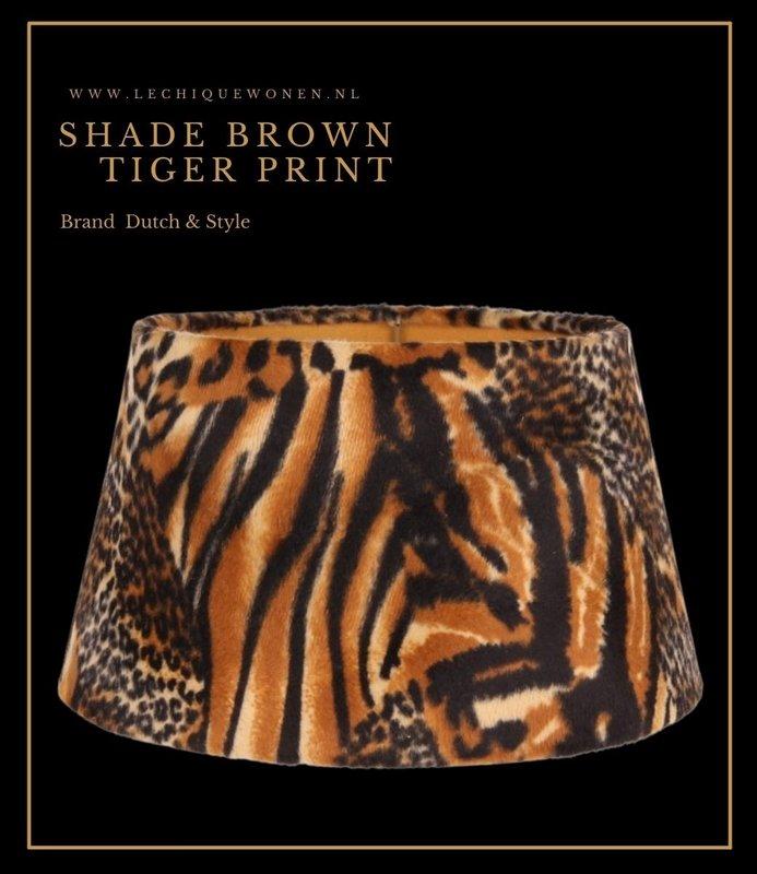 Dutch & Style Lampenkap jungle print  Brown    25 cm