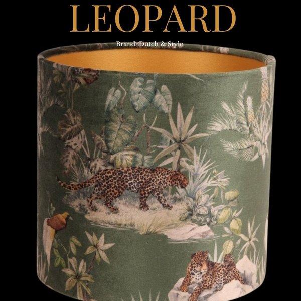 Dutch & Style Lampenkap leopard green   cilinder 20 cm