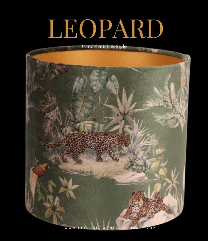 Dutch & Style Lampshade leopard  green   cylinder 20 cm