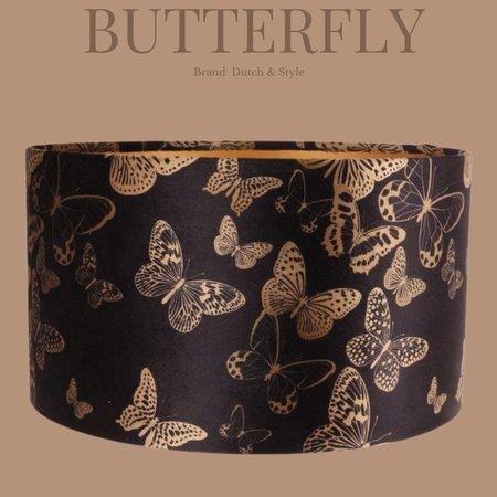 Dutch & Style Abat-jour jungle papillons cylinder 20 cm