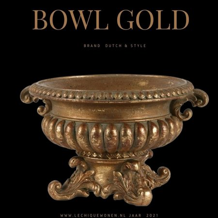 Dutch & Style Bowl with handle 25x22 cm gold