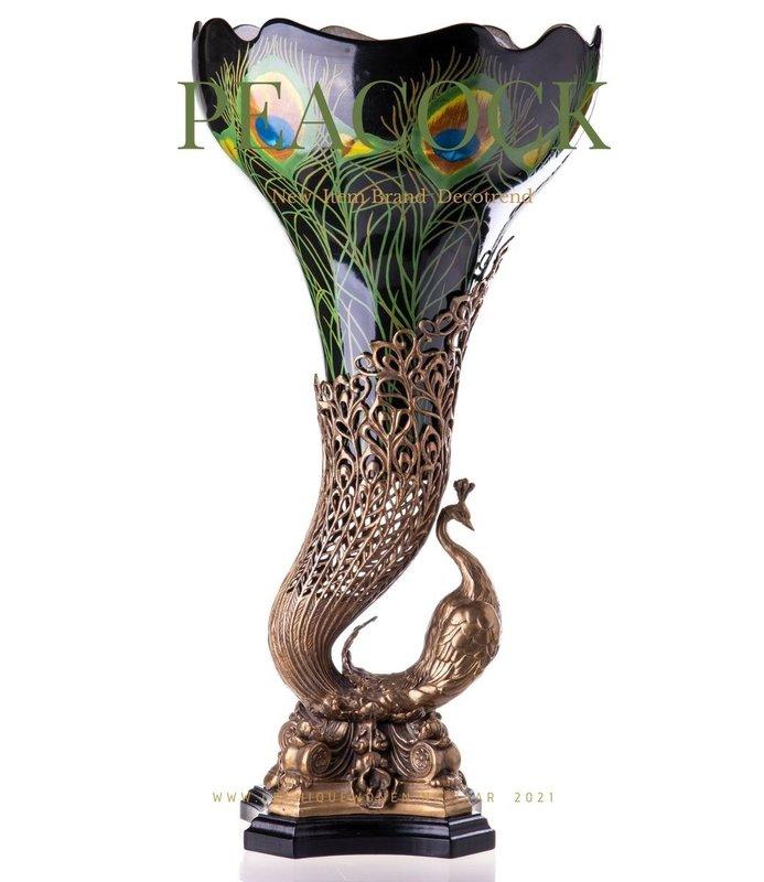 Decotrends  Bronze peacock vase
