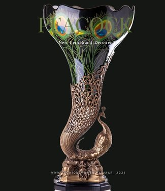Decotrends  Bronze peacock vase