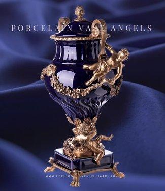 Decotrends  Vase en bronze baroque en porcelaine à couvercles avec anges