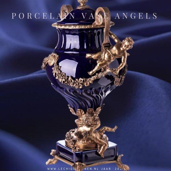 Decotrends  Barok Porselein bronzen dekselvaas met engelen