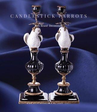 Decotrends  Porcelaine avec bougeoir en bronze perroquets set / 2