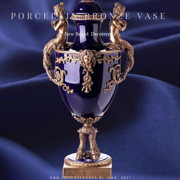 Decotrends  Porcelaine avec un vase en bronze avec couvercle