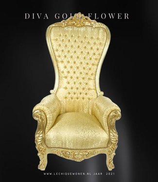 LC Baroque thrones model Diva goud bloem