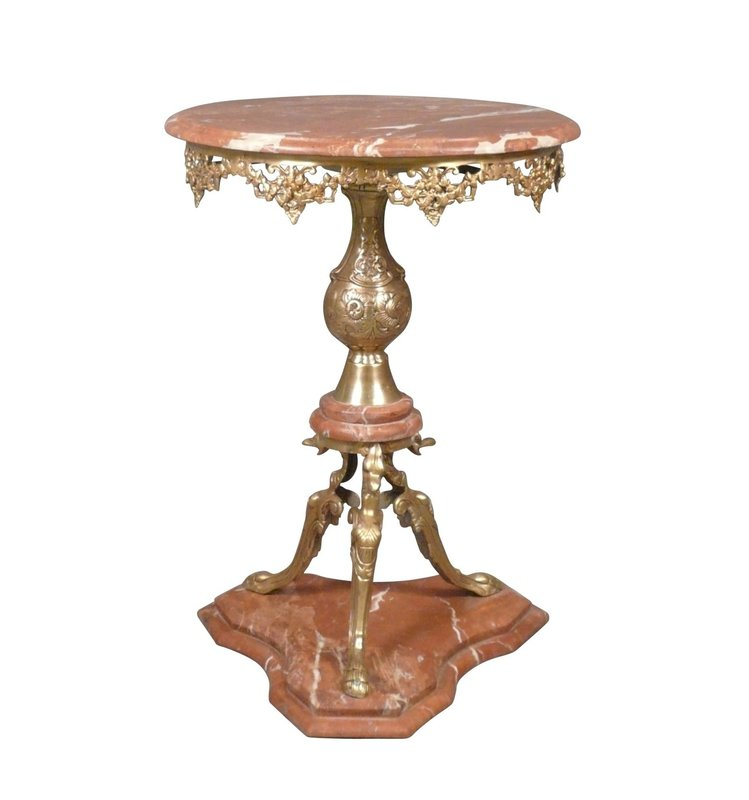 LC Gueridon table marble red