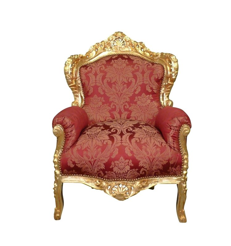 LC Baroque armchair Milano gold red flower