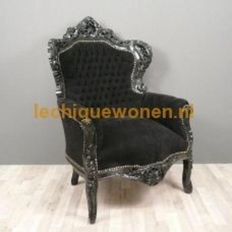 LC Baroque armchair black velvet