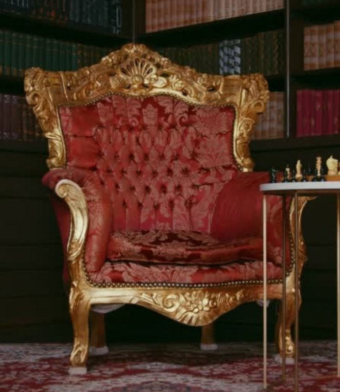 LC Barok Fauteuil Milano goud rood flower