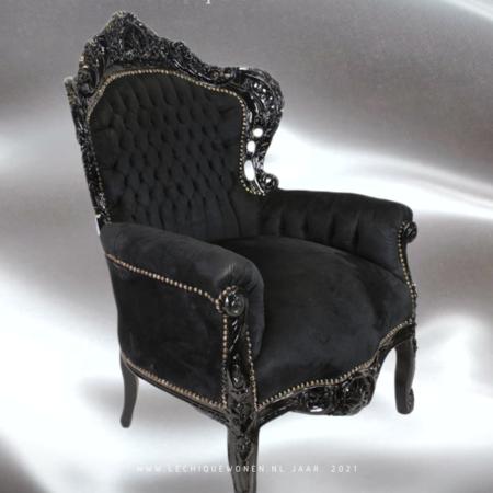 LC Fauteuil baroque noir velvet