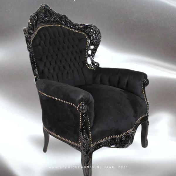 LC Barok fauteuil zwart  velvet
