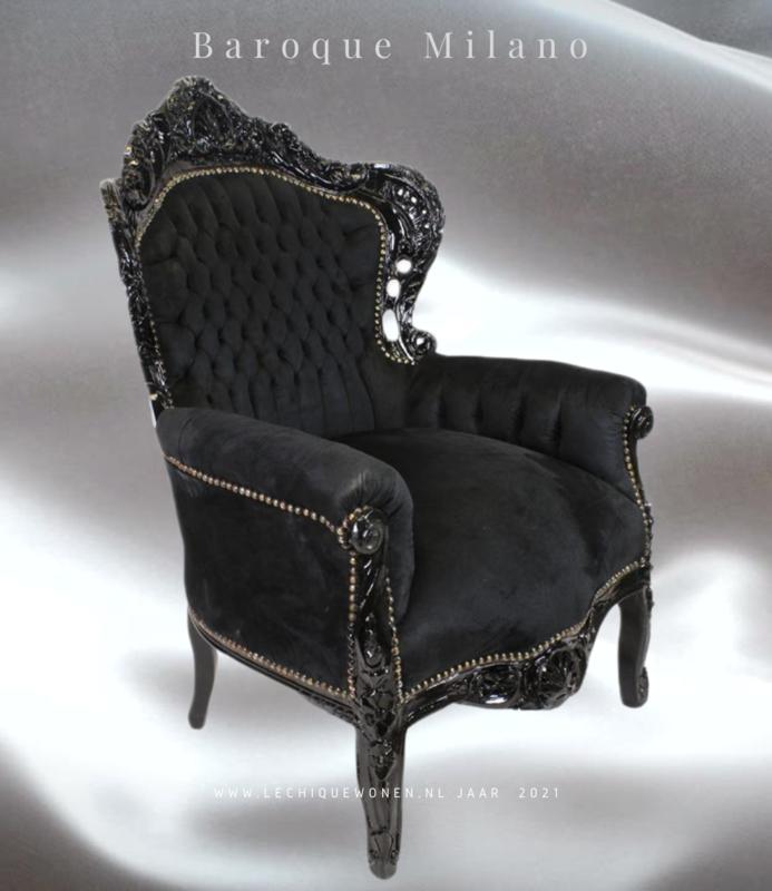LC Barok fauteuil zwart  Milano  velvet