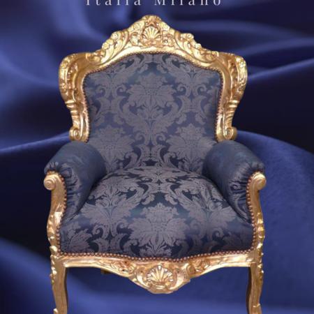 LC Fauteuil baroque doré bleu