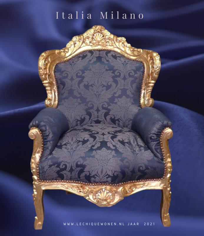 LC Barok fauteuil goud blauw Milano