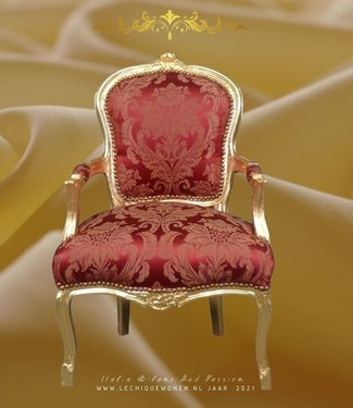 LC Chaise baroque pour femme passion or vin rouge