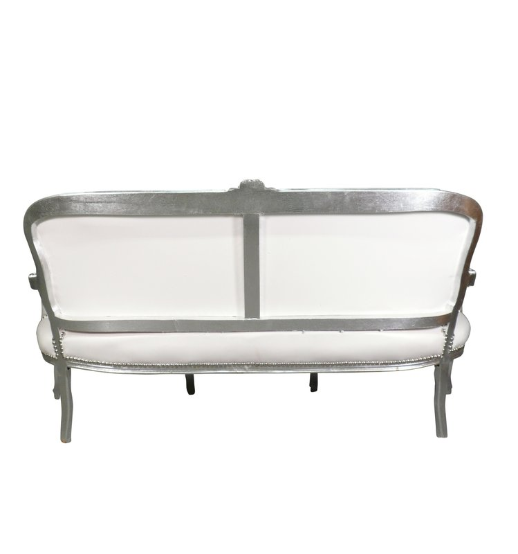 LC Barok Sofa  white glamour  wit zilver