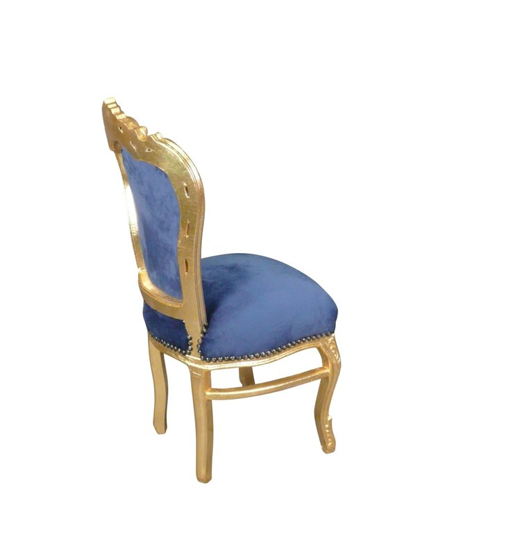 LC Baroque dining room chair Gold blue Jade