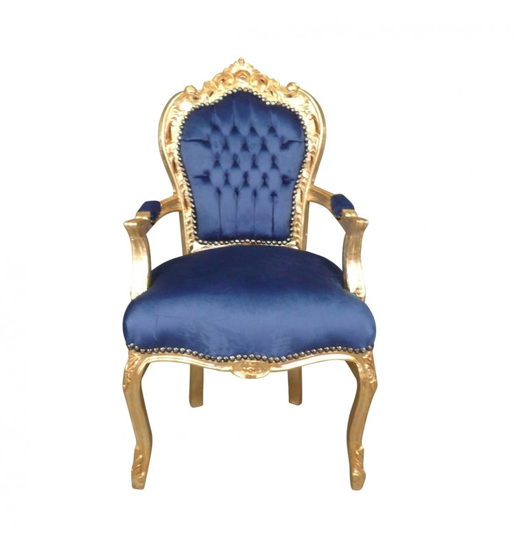 LC Eetkamer fauteuil barok goud blauw jade
