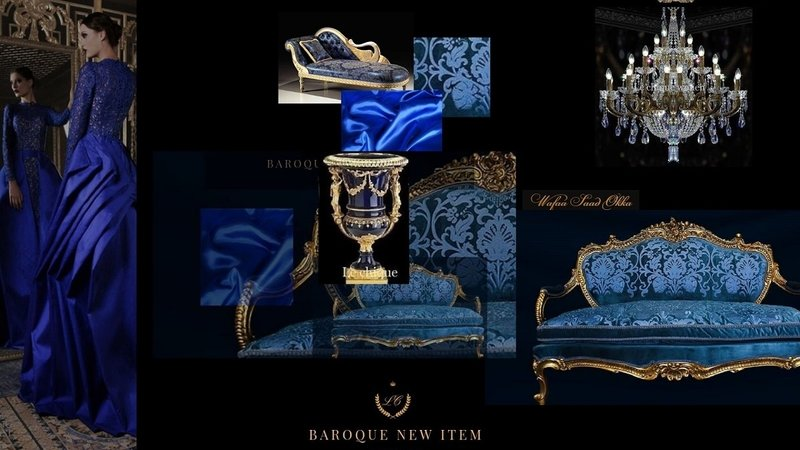 LC Baroque dining room armchair gold blue jade
