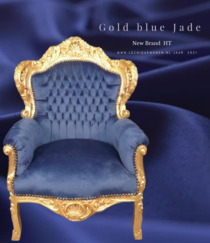 LC  Barok Fauteuil gold blue jade