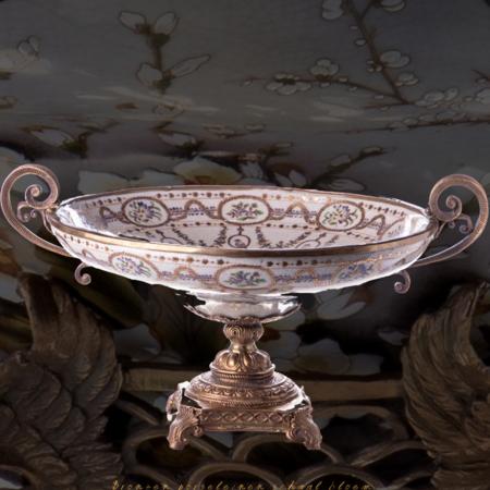 Decotrends  Bol en bronze porcelaine à motif de fleurs