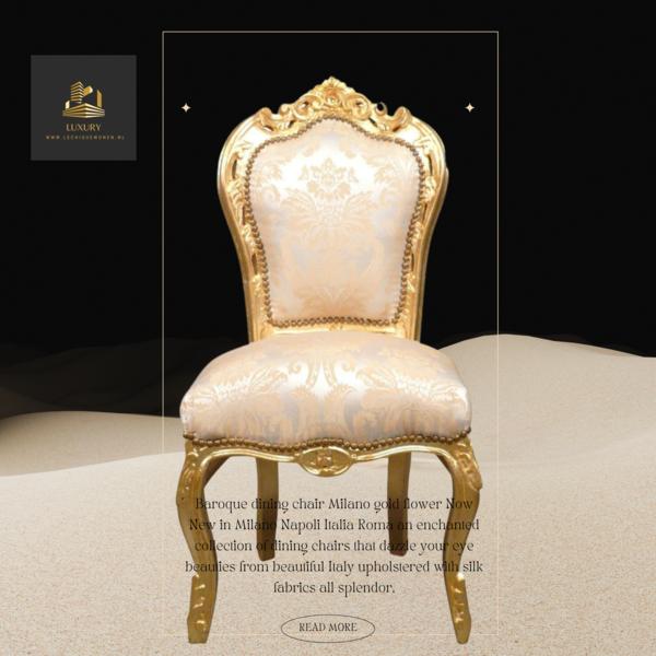 LC Chaise de salle à manger fleur doré
