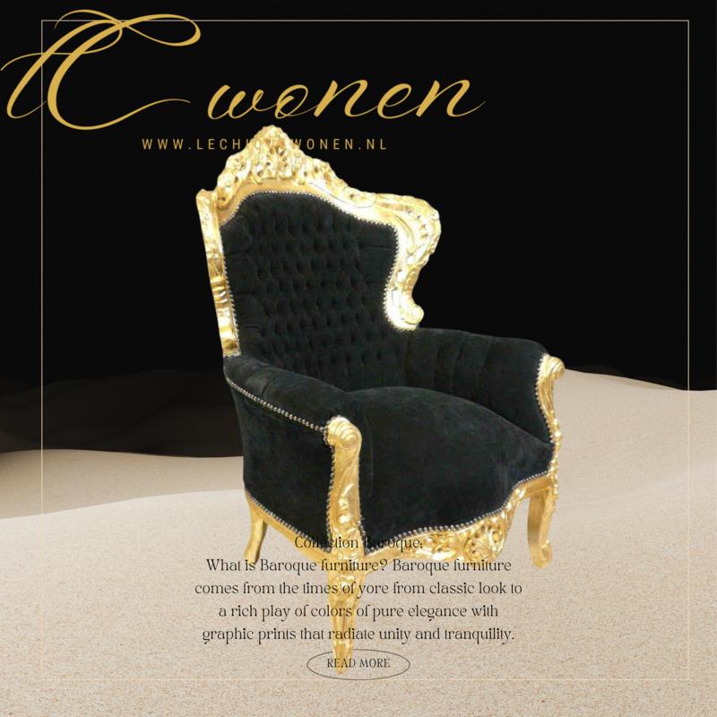 Royal Decoration   Barok fauteuil zwart goud