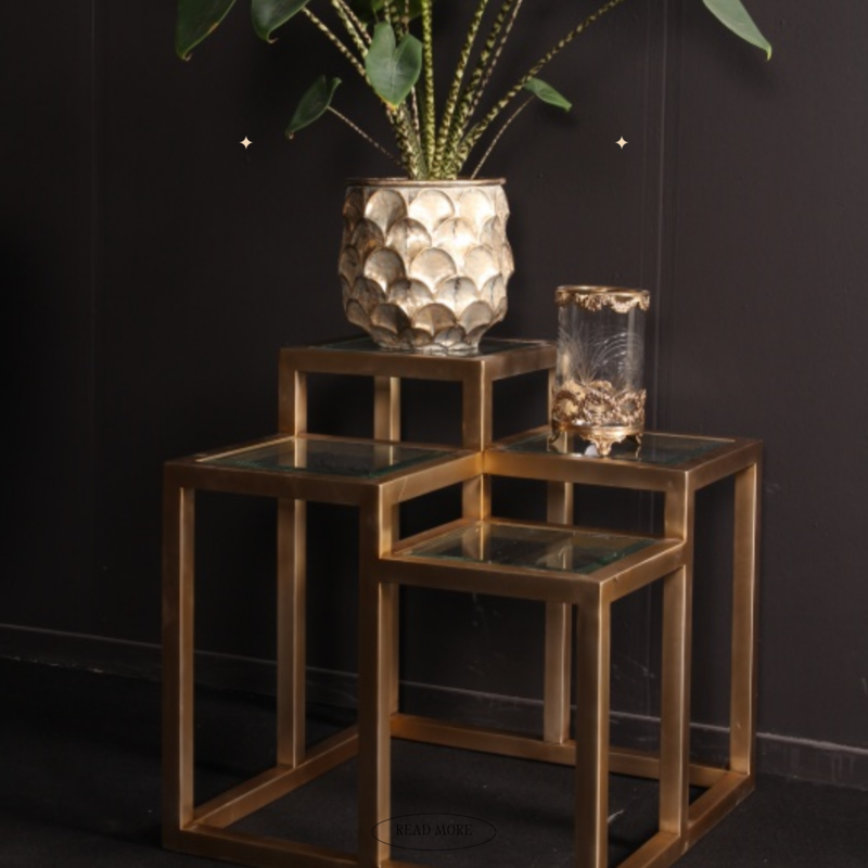 Dutch & Style Side table Cuba square gold
