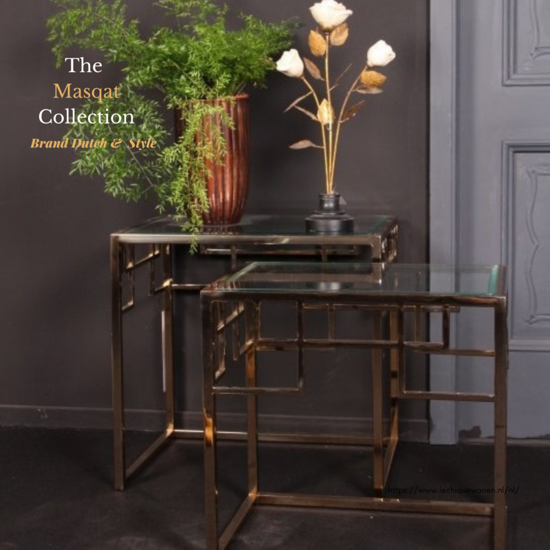 Dutch & Style Bijzettafel Masqat vierkant SET/2