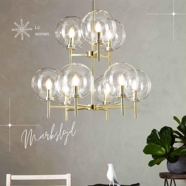 Markslojd CROWN hanging lamp 9L brass / clear