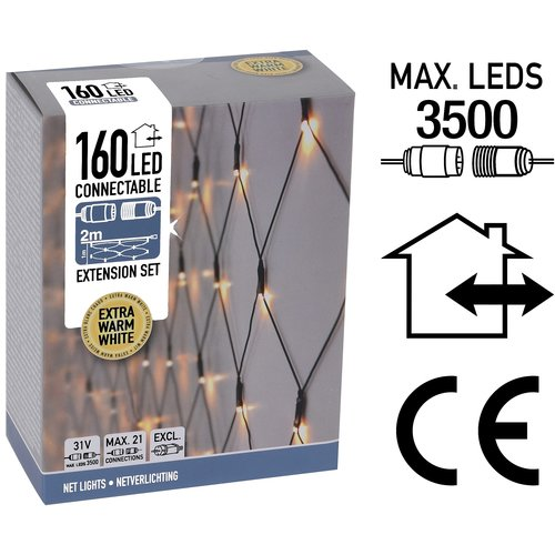 DecorativeLighting Koppelbare Netverlichting - 160 LED - 2m - extra warm wit