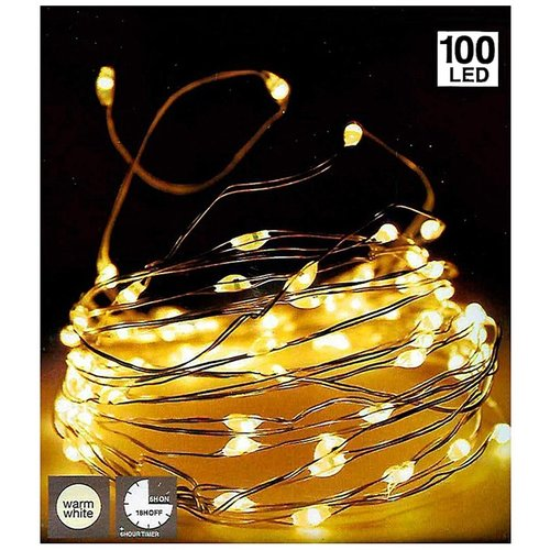 DecorativeLighting Zilverdraad 100LED - met timer