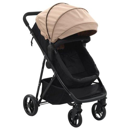 vidaXL Kinderwagen/buggy 2-in-1 staal taupe en zwart
