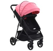 vidaXL Kinderwagen/buggy 2-in-1 staal roze en zwart